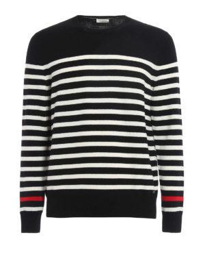 Saint Laurent: crew necks - Striped wool crew neck pullover