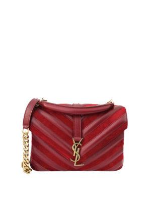 Saint Laurent: cross body bags - Collège leather suede medium bag