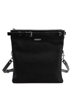 52a1559fbf SAINT LAURENT: borse a tracolla - Borsa piatta in tela di cotone e pelle