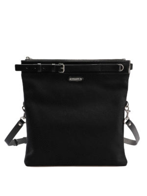 41f1a1b3be SAINT LAURENT: borse a tracolla - Borsa piatta in tela di cotone e pelle.  Saint Laurent. Sac Bandoulière - Noir