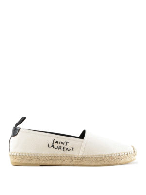 Saint Laurent: espadrilles - Embroidered logo cotton espadrilles