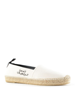 Saint Laurent: espadrilles online - Embroidered logo cotton espadrilles