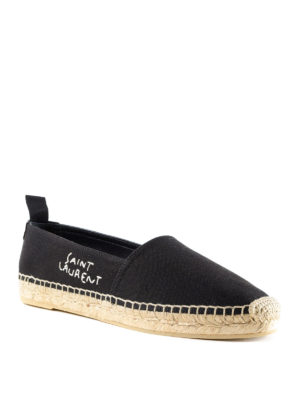 Saint Laurent: espadrilles online - Logo embroidery cotton espadrilles