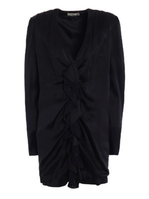 Saint Laurent: evening dresses - Ruched sateen mini dress