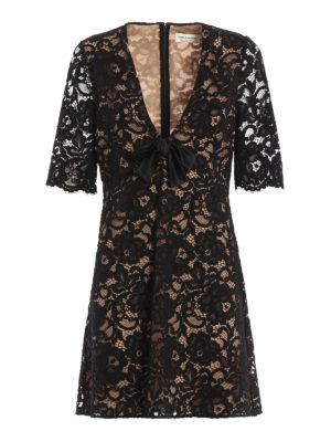 Saint Laurent: evening dresses - Silk and cotton floral lace dress