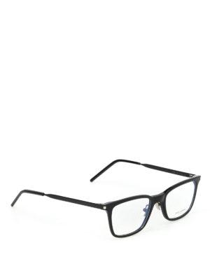 SAINT LAURENT: Occhiali - Occhiali da vista neri in acetato e metallo