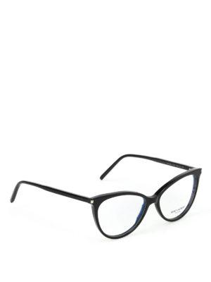 SAINT LAURENT: Occhiali - Occhiali da vista neri a occhi di gatto