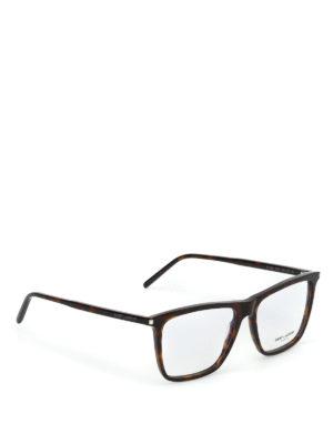 SAINT LAURENT: Occhiali - Occhiali da vista in acetato havana scuro