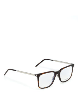 SAINT LAURENT: Occhiali - Occhiali da vista in acetato havana e metallo