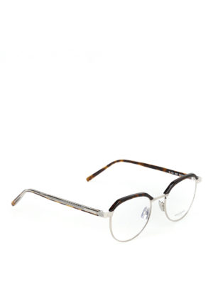 SAINT LAURENT: Occhiali - Occhiali da vista in metallo e acetato avana