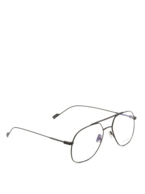 Saint Laurent: glasses - Slim burnished metal framed glasses