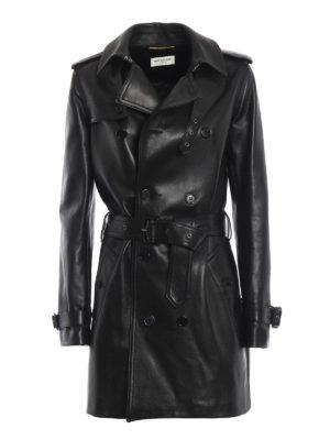 SAINT LAURENT: cappotti in pelle - Cappotto doppiopetto in nappa