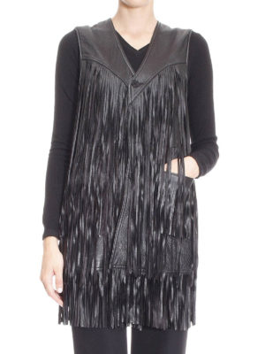 Saint Laurent: leather coats online - Sleeveless fringed leather coat
