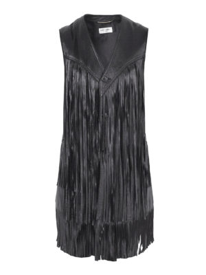 Saint Laurent: leather coats - Sleeveless fringed leather coat