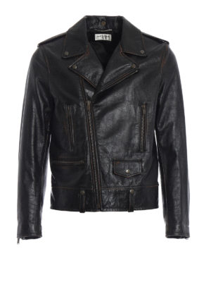 SAINT LAURENT: giacche in pelle - Giacca biker in pelle used con stampa 1971