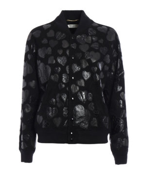 Saint Laurent: leather jacket - Heart patches suede bomber
