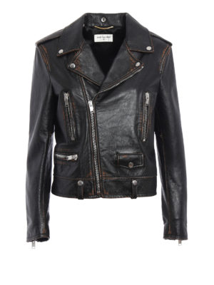 Saint Laurent: leather jacket - Motorcycle vintage leather jacket