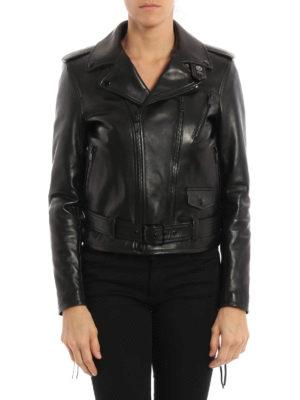 Saint Laurent: leather jacket online - Belted leather jacket