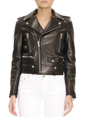 Saint Laurent: leather jacket online - Classic Motorcycle leather jacket