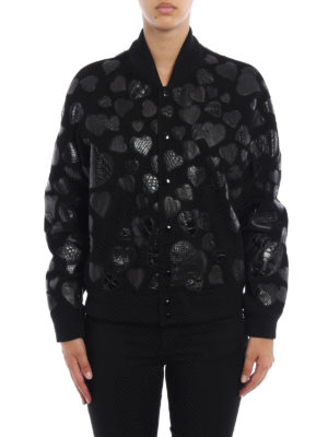 Saint Laurent: leather jacket online - Heart patches suede bomber