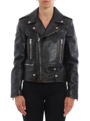 Saint Laurent: leather jacket online - Motorcycle vintage leather jacket