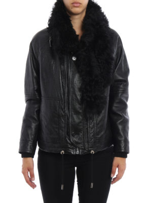 Saint Laurent: leather jacket online - Shearling detailed leather jacket