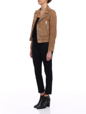 Saint Laurent: leather jacket online - Suede biker jacket