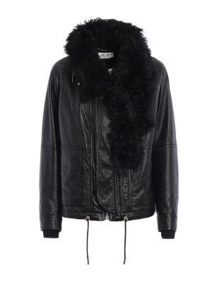 Saint Laurent: leather jacket - Shearling detailed leather jacket