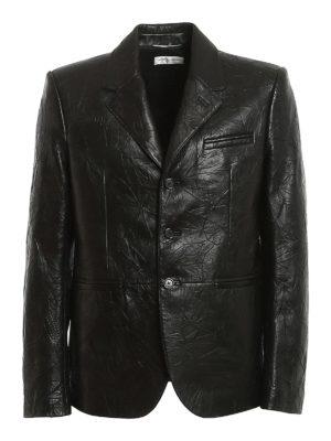 SAINT LAURENT: leather jacket - Wrinkled effect leather jacket