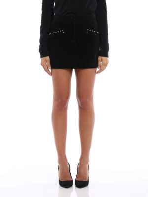 Saint Laurent: leather skirts online - Stud detailed suede mini skirt