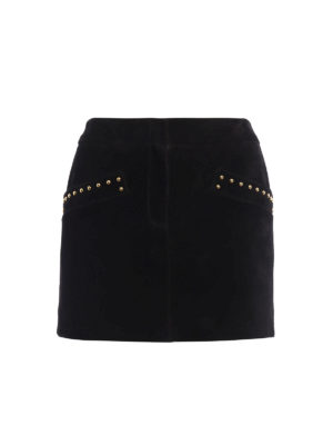 Saint Laurent: leather skirts - Stud detailed suede mini skirt