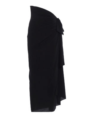 Saint Laurent: Long skirts - Draped silk maxi skirt