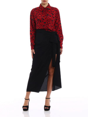 Saint Laurent: Long skirts online - Draped silk maxi skirt