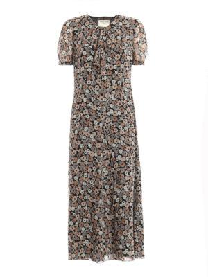 Saint Laurent: maxi dresses - Floral silk lavalliere dress
