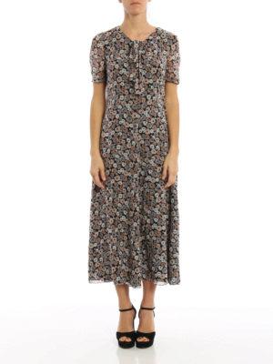 Saint Laurent: maxi dresses online - Floral silk lavalliere dress