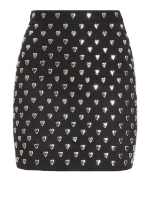 Saint Laurent: mini skirts - Heart studded denim mini skirt