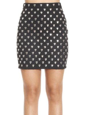 Saint Laurent: mini skirts online - Heart studded denim mini skirt