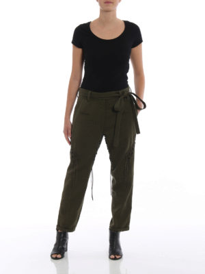 SAINT LAURENT: pantaloni casual online - Pantaloni in gabardine con lacci