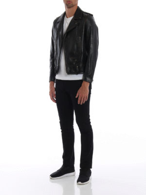 SAINT LAURENT: giacche in pelle online - Giacca biker in pelle used con stampa 1971