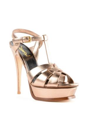 SAINT LAURENT: sandali online - Sandali in pelle metallizzata oro Tribute 105