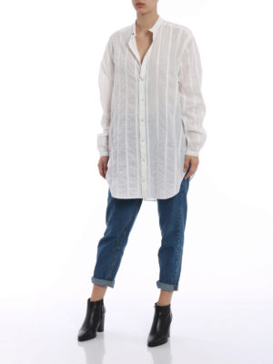 SAINT LAURENT: camicie online - Camicia over in cotone a righe