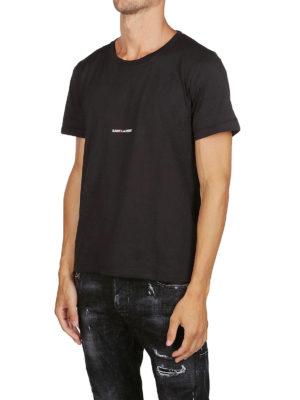 SAINT LAURENT: t-shirt online - T-shirt con logo in jersey