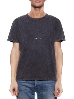 SAINT LAURENT: t-shirt online - T-shirt nera sbiadita con logo
