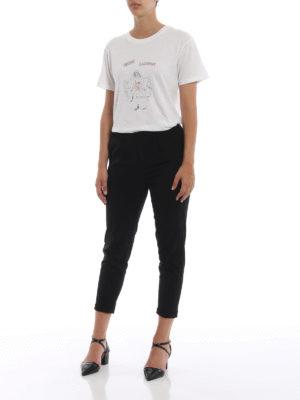 SAINT LAURENT: t-shirt online - T-shirt in cotone con stampa disegno