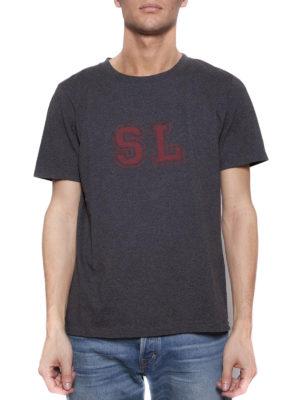 SAINT LAURENT: t-shirt online - T-shirt sbiadita con stampa SL