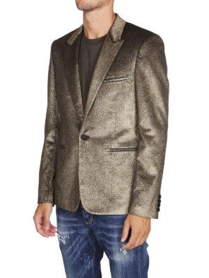 SAINT LAURENT: giacche sartoriali online - Blazer in velluto glitterato color oro