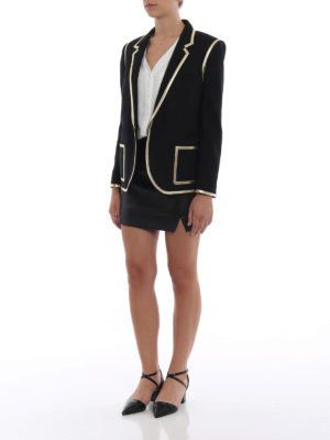 SAINT LAURENT: giacche sartoriali online - Blazer in lana finiture in pelle