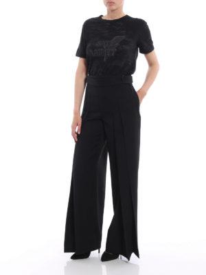SAINT LAURENT: Pantaloni sartoriali online - Pantaloni a pieghe in lana