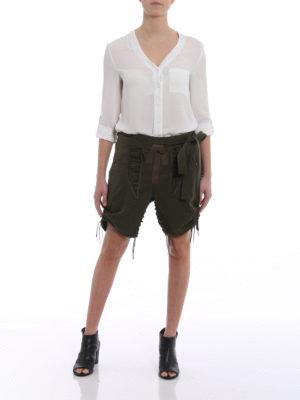 SAINT LAURENT: pantaloni shorts online - Shorts in gabardine con cordini