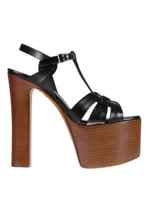 Saint Laurent: sandals - Betty leather wedge sandals
